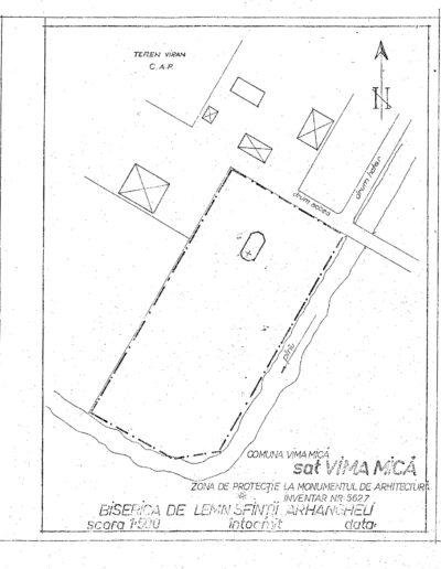 """Biserica de lemn """"Sfinții Arhangheli"""" din Vima Mică - arhiva MJIA - plan"""