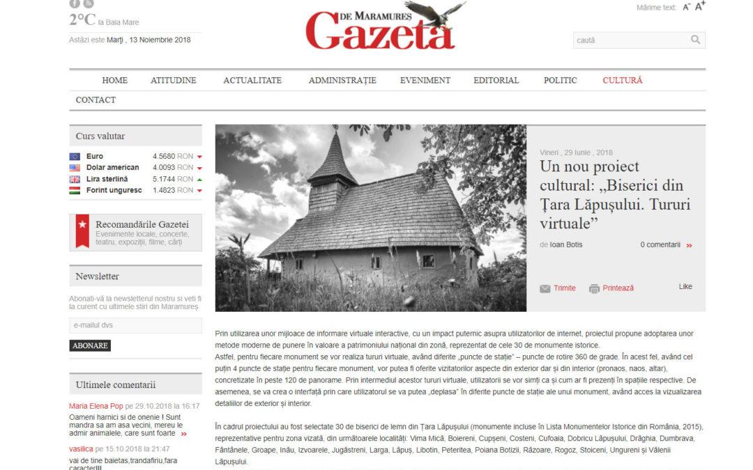 Despre proiectul Biserici de lemn din Ţara Lăpuşului în Gazeta de Maramureş